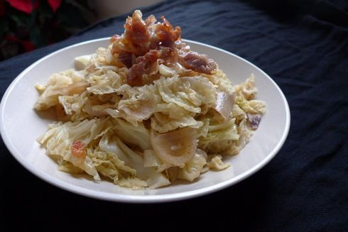Sauteed Cabbage with Onion and Prosciutto