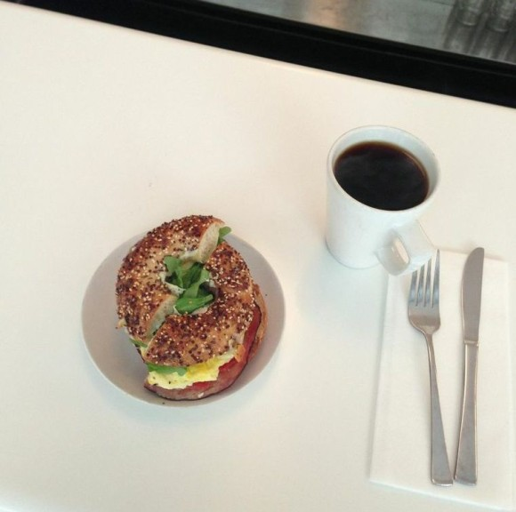 Salmon Bagel and Coffee