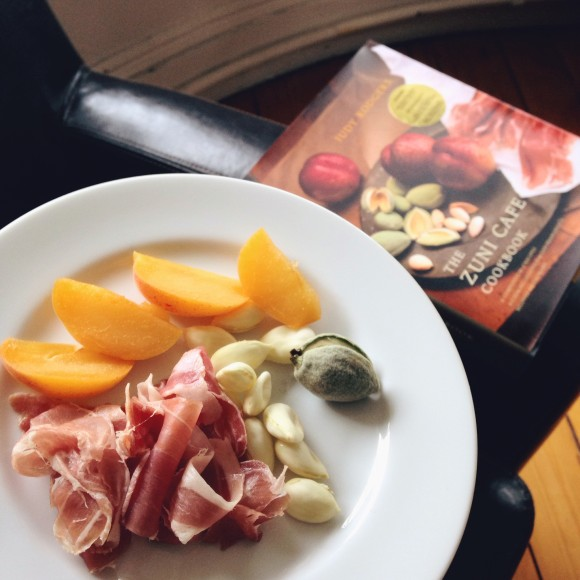 Green Almonds and Prosciutto