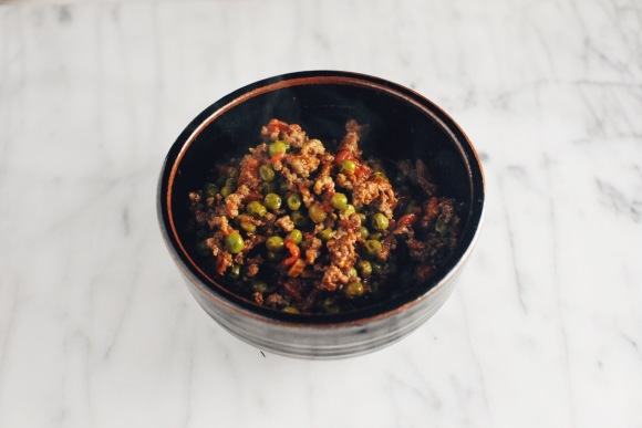 Bowl of Kheema Beef with Peas