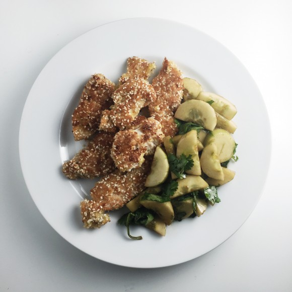 sesame chicken and cucumber salad