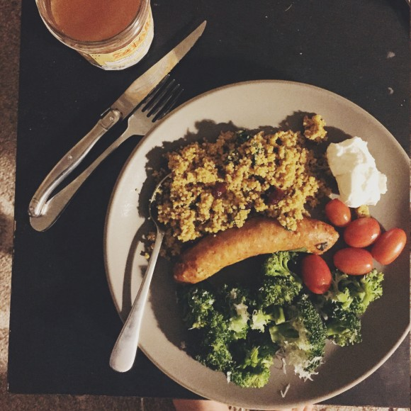sausages and cous cous