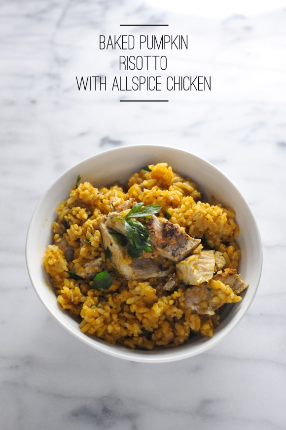 Baked Pumpkin Risotto with Allspice Chicken