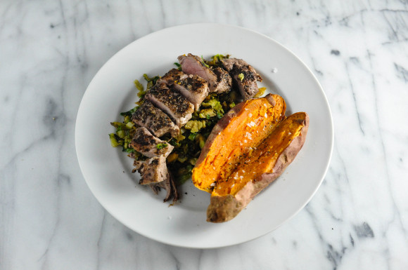 Pork tenderloin brussels sprouts and sweet potato
