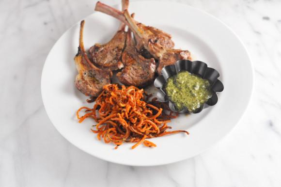 Lamb Chops Pesto and Sweet Potato