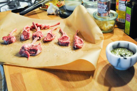 Lamb chops and pesto