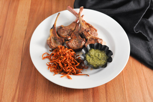 Lamb chops and pesto with spiralized sweet potato shoestring fries