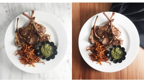 Lamb chops with pesto and sweet potato shoestrings diptych