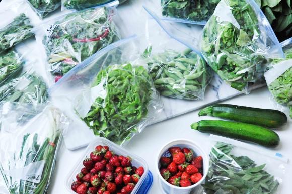 Stearns Farm CSA Fruit and Veg on Table