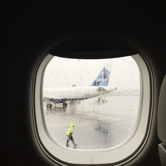 Rain in Boston on Jet Blue