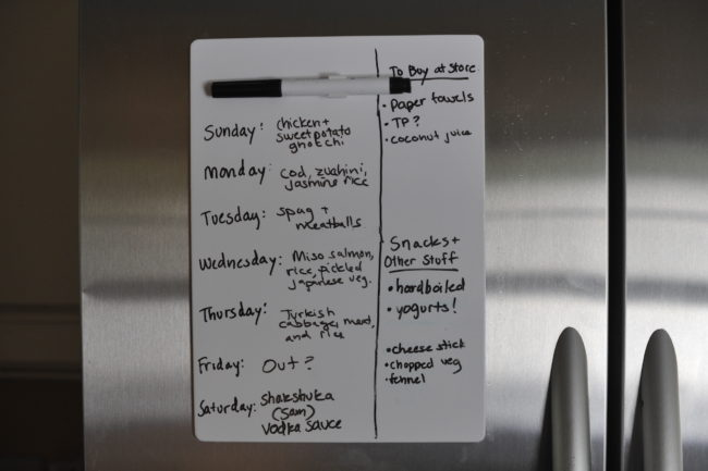 Meal Planning Whiteboard