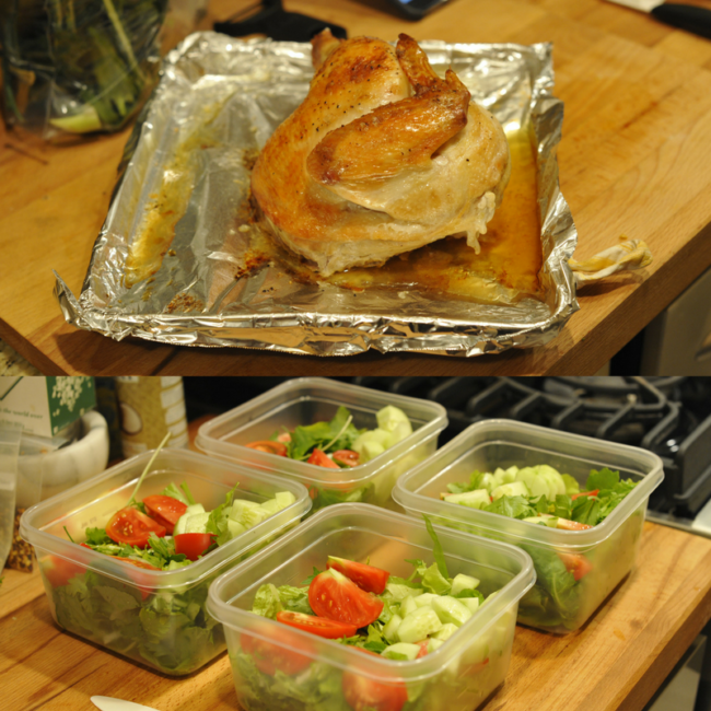 batch cooking chicken and salad