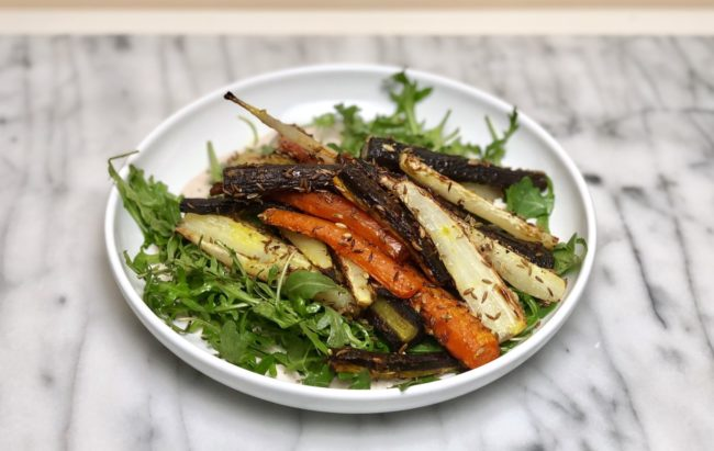 the second lunch Alison Roman Dining In Turmeric Roasted Carrots with seeds and labne