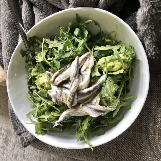 the second lunch arugula salad with avocado green goddess and marinated anchovies