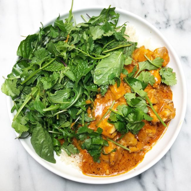 the second lunch butter chicken and arugula herb salad