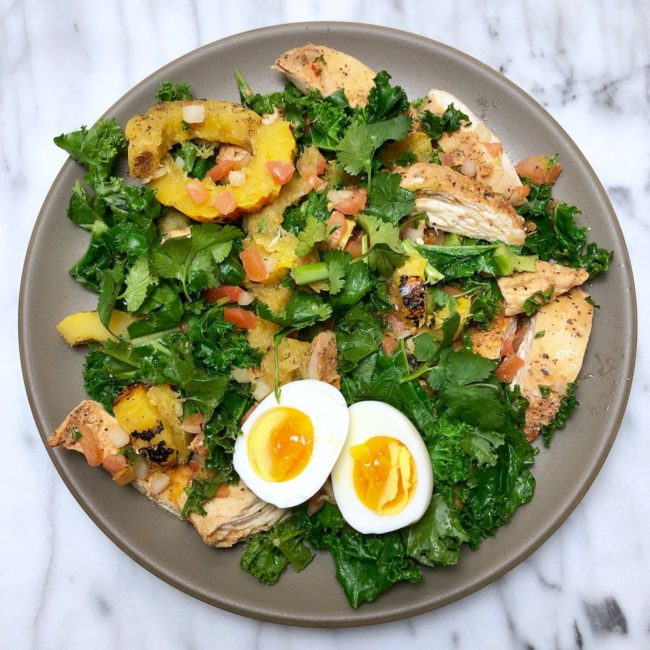 the second lunch kale salad with pollo asado chicken and delicata squash with egg