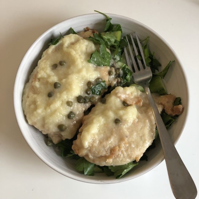 Chicken Piccata over Herb Salad