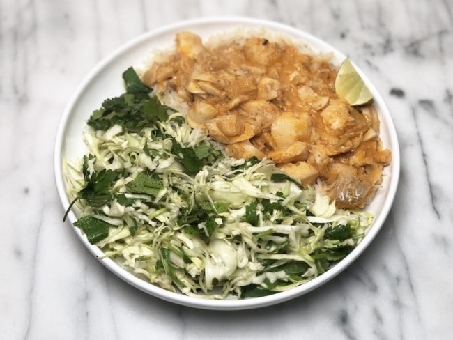 Fish Curry and Cabbage Salad